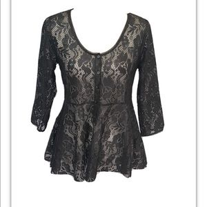 Free People Semi Sheer Lace Top. Small